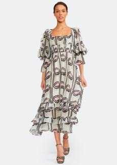 Cynthia Rowley Jessica Smocked Ruffle Midi Dress