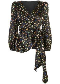 Cynthia Rowley mila silk wrap blouse