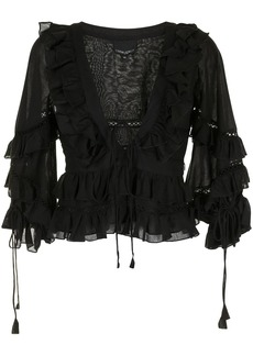 Cynthia Rowley Stella tie-front tiered blouse