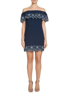 Cynthia Steffe Allison Off-The-Shoulder Embroidered Dress