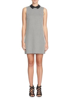 Cynthia Steffe Brynn Houndstooth Leather Collar Shift Dress