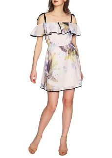 Cynthia Steffe Cassie Tropical Ruffle Cold-Shoulder Dress