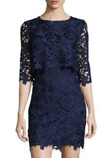 Cynthia Steffe Half-Sleeve Popover Lace Dress