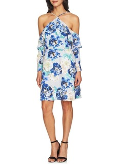 Cynthia Steffe Iris Off-Shoulder Ruffle Floral Dress