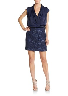 Cynthia Steffe Isable Satin & Brocade Blouson Dress