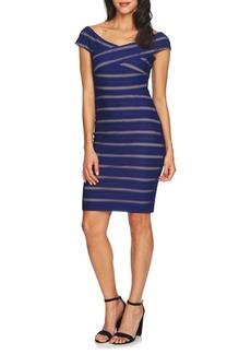 Cynthia Steffe Jessa Knitted Stripe Off-The-Shoulder Bodycon Dress