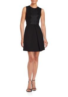 Cynthia Steffe Jewelneck Pleated A-Line Dress