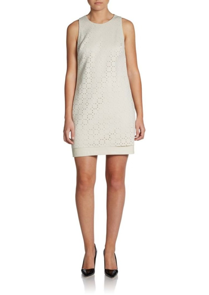 Cynthia Steffe Lasercut Faux Leather Shift Dress