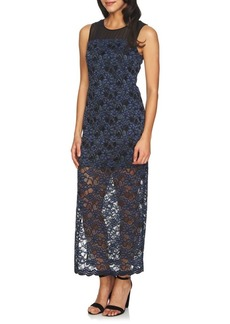 Cynthia Steffe Mary Space-Dye Lace & Mesh Maxi Gown