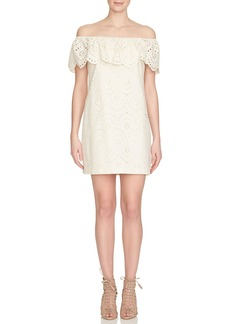 Cynthia Steffe Off-the-Shoulder Cotton Eyelet Shift Dress