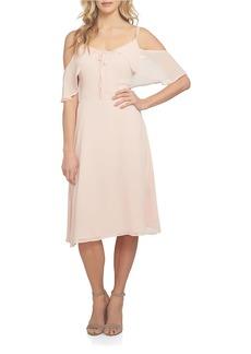 CYNTHIA STEFFE Off the Shoulder Crinkle Chiffon A-Line Dress