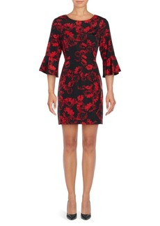 Cynthia Steffe Three Quarter Flutter Cuff Floral Sheath Dress