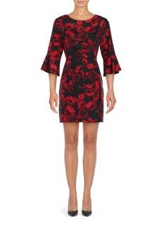 Cynthia Steffe Three Quarter Flutter Cuff Floral Sheath Dress