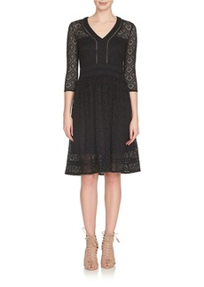 CYNTHIA STEFFE V-Neck Crochet Tiles Dress