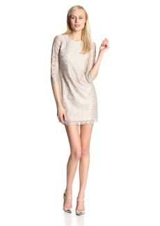 Cynthia Steffe Women's Vida Metallic Circle Lace 3/4 Sleeve Shift Dress