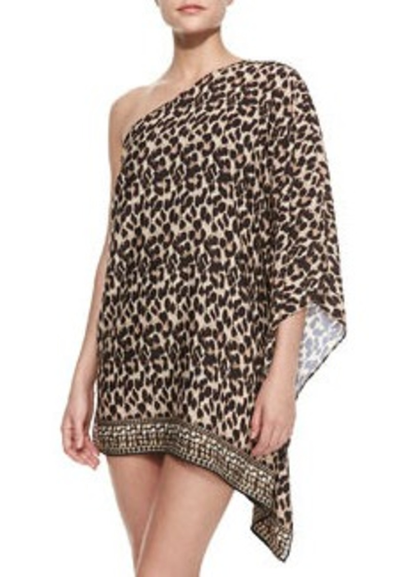 MICHAEL Michael Kors Leopard-Print One-Shoulder Coverup   Leopard-Print One-Shoulder Coverup