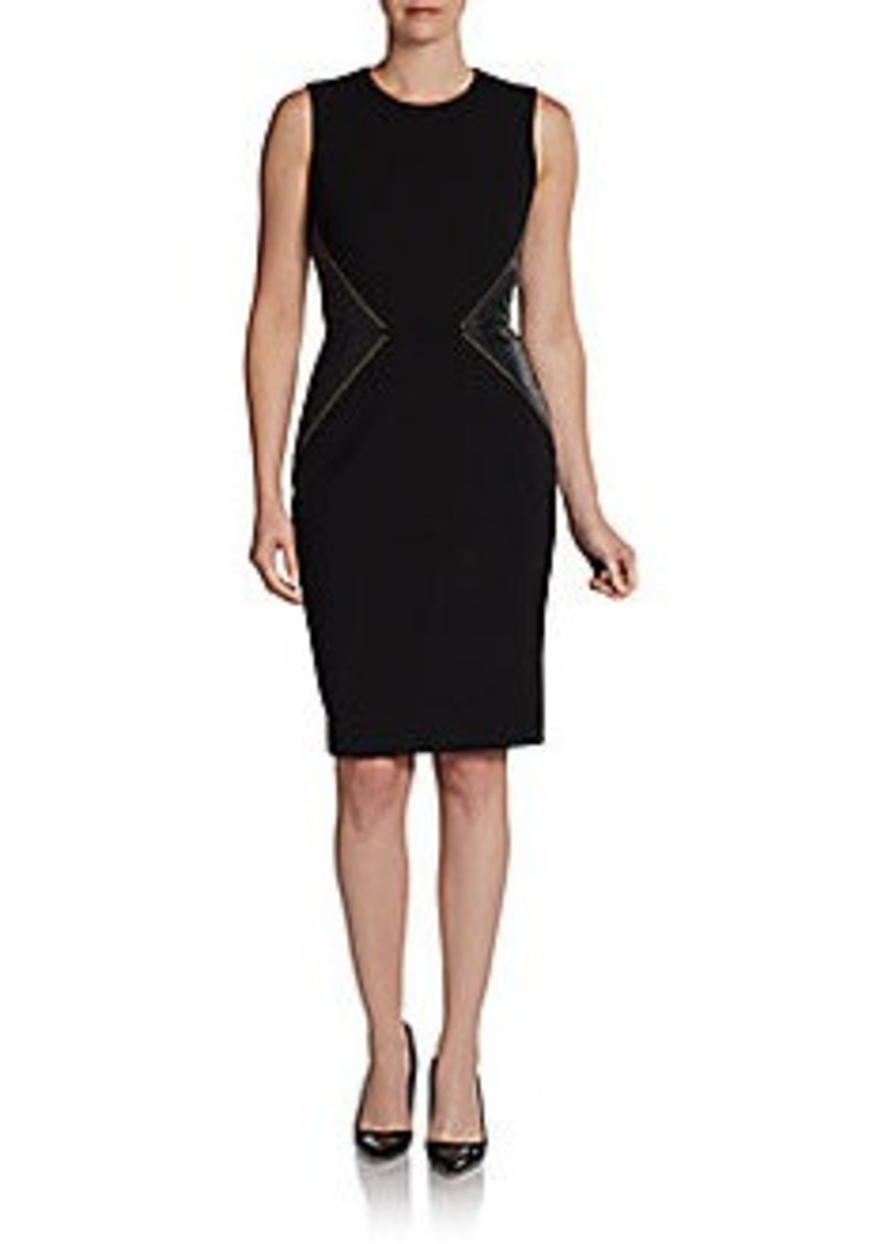 Calvin Klein Studded Faux Leather Side Panel Dress