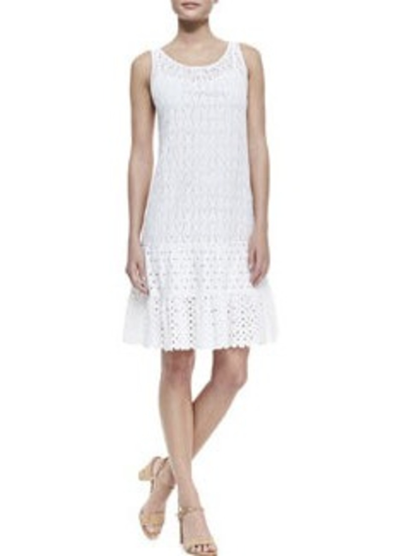 Catherine Malandrino Mixed-Lace Drop-Waist Sleeveless Dress   Mixed-Lace Drop-Waist Sleeveless Dress