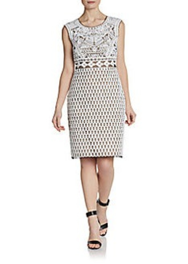 Catherine Malandrino Embroidered Sheer Illusion Sheath Dress