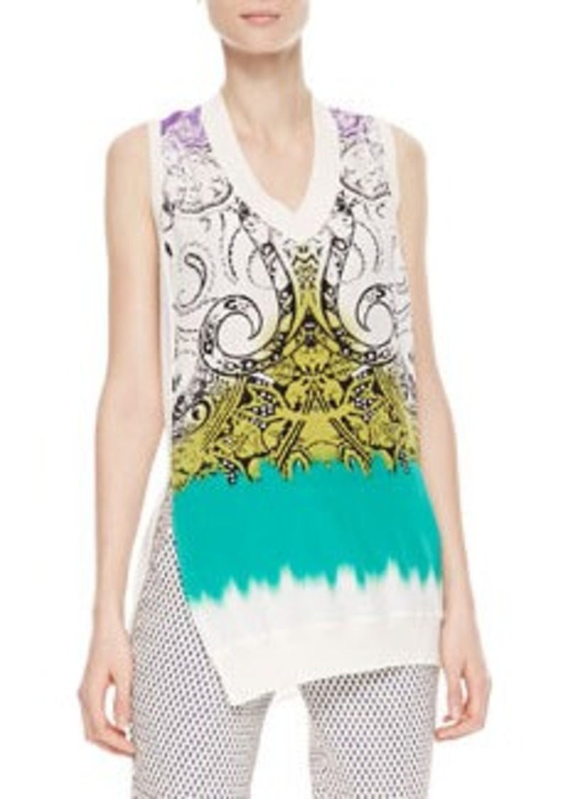 Etro Printed Silk-Front Top, White/Green   Printed Silk-Front Top, White/Green