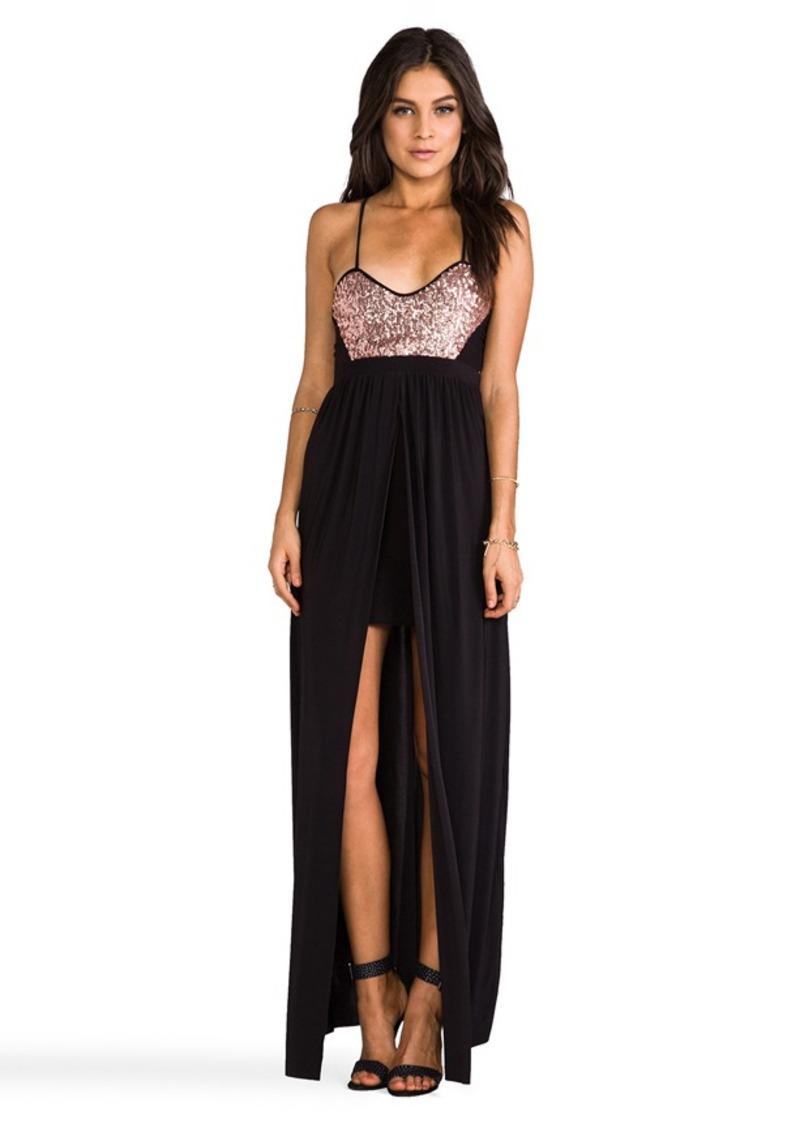 T-Bags LosAngeles Blush Sequins w/ Black Skirt Dress in Black