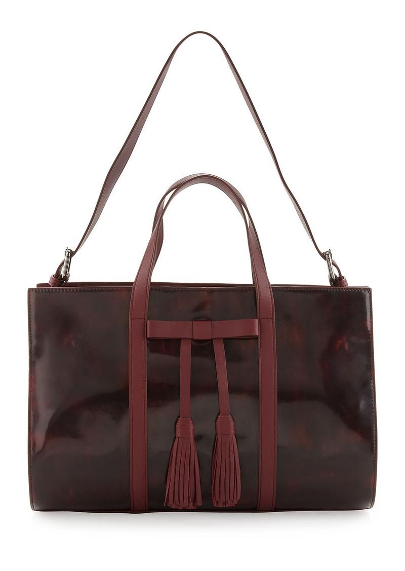 L.A.M.B. Adette Glazed Leather Satchel Bag, Cranberry