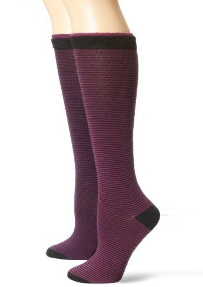 Steve Madden Legwear Women's 2 Pack Stripe Knee High with Ruffle Cuff