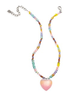 Dannijo Aina Multicolor Beaded Heart Pendant Necklace