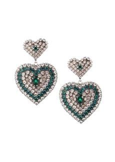 Dannijo Amo Green & White Glass Crystal Heart Drop Earrings