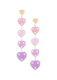 Dannijo Crystal-Trimmed Multicolor Heart Linear Earrings