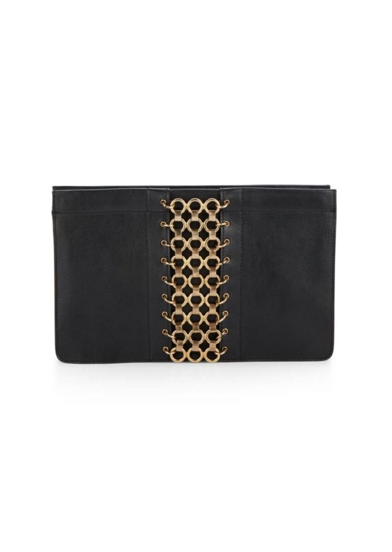 DANNIJO Lenox Grommet-Trimmed Leather Clutch