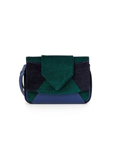 DANNIJO Rocha Velvet & Leather Colorblock Clutch
