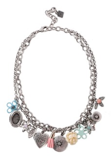 Dannijo Woman Amabella Burnished Silver-tone Crystal And Resin Necklace Silver