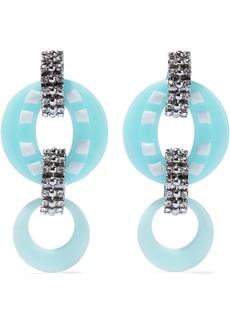 Dannijo Woman Armie Silver-tone Crystal And Resin Earrings Sky Blue