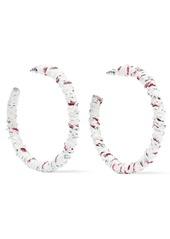 Dannijo Woman Eloise Frayed Woven Hoop Earrings White