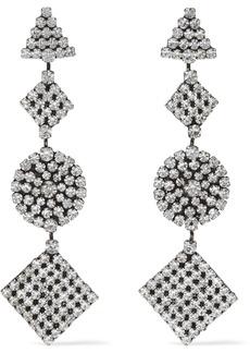 Dannijo Woman Fetch Oxidized Silver-plated Crystal Earrings Silver