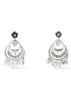 Dannijo Woman Freesia Oxidized Silver-plated Crystal Clip Earrings Silver
