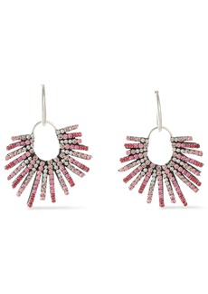 Dannijo Woman Kravis Convertible Oxidized Silver-tone Crystal Earrings Pink