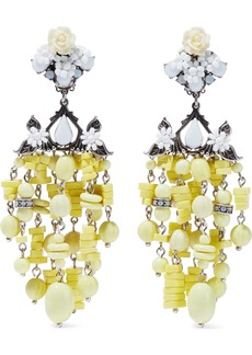 Dannijo Woman Lionel Silver-plated Bead And Crystal Clip Earrings Yellow