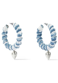 Dannijo Woman Lou Oxidized Silver-plated Denim And Lace Hoop Earrings Light Denim