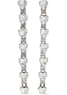 Dannijo Woman Odette Oxidized Silver-plated Crystal Earrings Silver