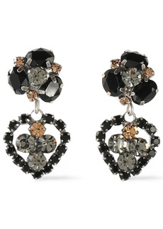 Dannijo Woman Oxidized Silver-tone Crystal Earrings Black
