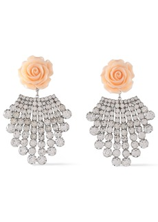 Dannijo Woman Rhodium-plated Crystal And Resin Earrings Pastel Pink