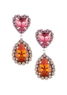 Dannijo Kate Embellished Heart Teardrop Earrings