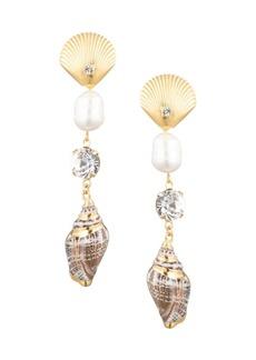 Dannijo Marin 8MM-10MM Freshwater Pearl, Crystal & Shell Drop Earrings