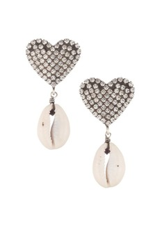 Dannijo Playa Heart & Conch Shell Silver Earrings