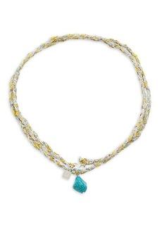 Dannijo Raki Silvertone & Turquoise Wrap Necklace