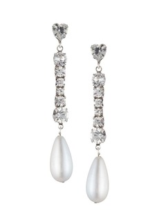 Dannijo Rita Crystal & 25MM Man-Made Pearl Drop Earrings