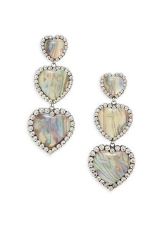 Dannijo Tate Silverplated, Resin Stone & Glass Crystal Triple-Heart Earrings