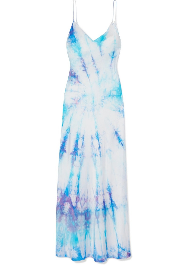 Tie-dyed Silk-satin Midi Dress